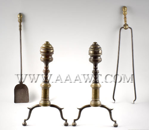 Brass and Iron Andirons with Matching Tools American First Half Nineteenth Century, entire view