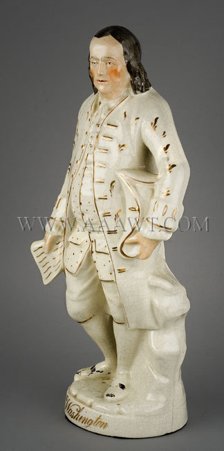 Staffordshire Figure Benjamin Franklin On gilt lined circular base, identified as Washington 19th Century, entire view