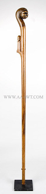 Antique Cane, Folk Art Carved, African American, entire view