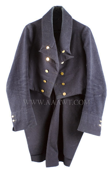 Antique Coat, Gentleman's Wool Cut Away Jacket, American, entire view