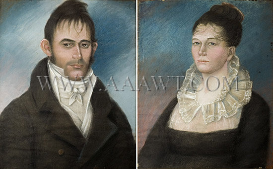 Portraits, Pastel and Crayon on Paper, Pair Mr. and Mrs. Joshua Brick, Original Frames Port Elizabeth, New Jersey Circa 1810, entire view