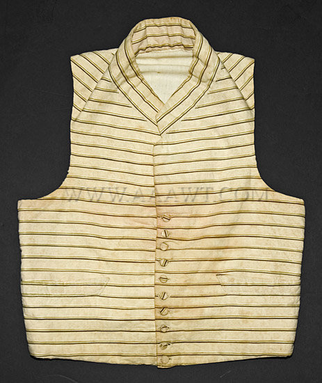 Waistcoat, Young Man's, Striped  Early 19th Century, entire view
