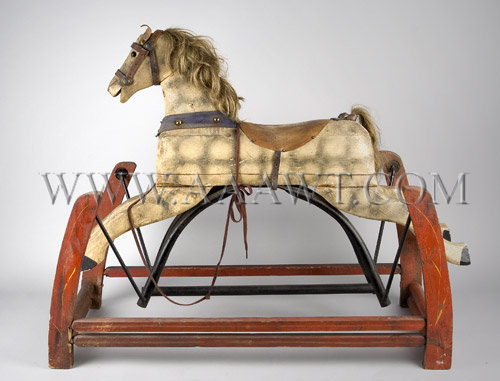 Antique Rocking Horse, On Glider, Hair Mane and Tail, entire view
