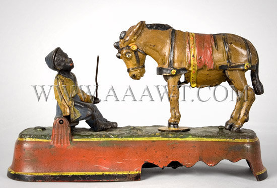 Antique Bank, Mechanical Bank, Horse and Jockey, Kicking Mule, entire view