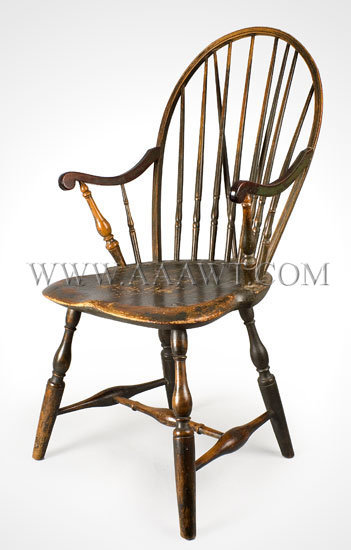 Braced Bow-Back Windsor Armchair Pipe-Stem Spindles...mahogany arms Probably Rhode Island Circa 1775-1785, entire view