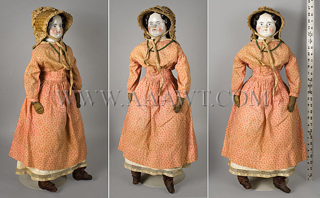 Antique Doll, China Head Doll, Circa 1880, angle and entire views with ruler for scale