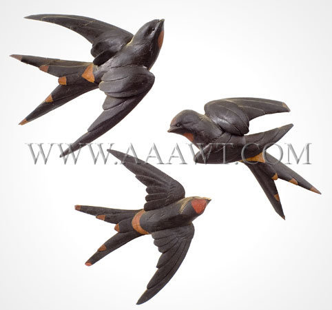 Antique Carving, Swallows in Flight, Group of Three, Painted, entire view