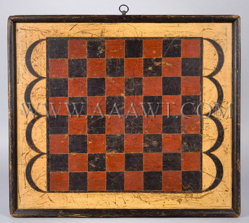 Antique Checkerboard, Game Board, Applied Edges, Red, Black and Yellow Paint