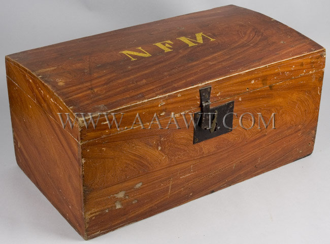 Paint Decorated Dome Top Basswood Box with Initials, entire view