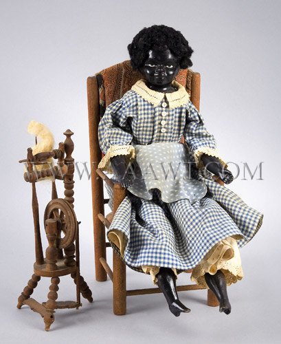 Antique Doll, African American Girl, With Spinning Wheel, entire view