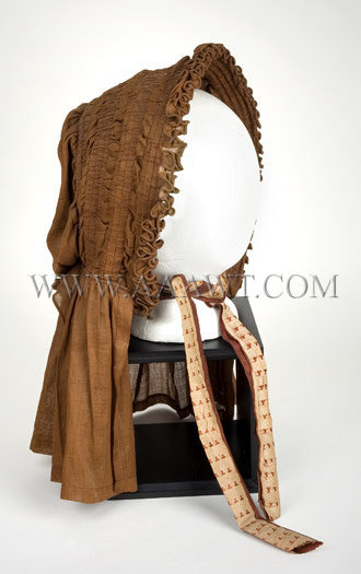 Antique Bonnet, 1840's, Brown Color, left angle view