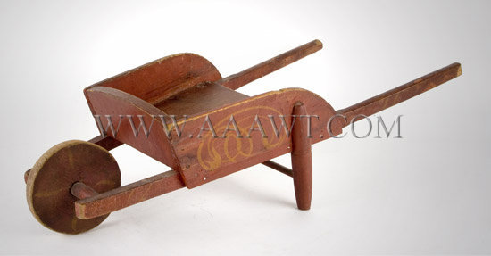 Antique Toy, Wheelbarrow, Red Paint with Yellow Decoration, right angle view