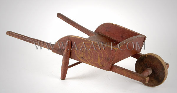 Antique Toy, Wheelbarrow, Red Paint with Yellow Decoration, left angle view