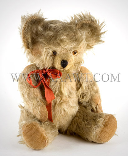 Antique Teddy Bear, White Mohair, Jointed, left angle view