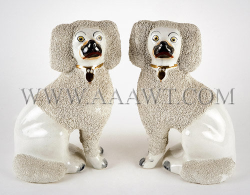 Staffordshire Poodles With Sand Finish Circa 1860-1900, entire view