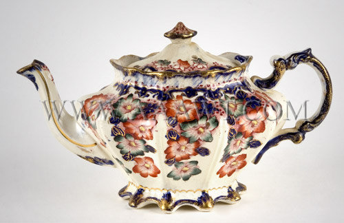 Staffordshire Tea Pot With Transfer Decoration Circa 1830-1840, entire view