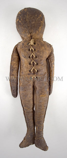 Antique Doll, Leather Doll, Commercially Produced, entire view