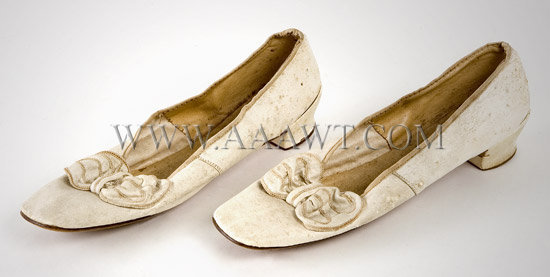 Antique Shoes, Women's, White Leather, angle view