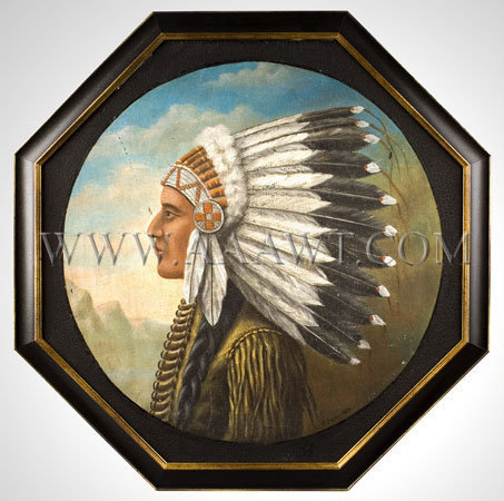 Portrait, Native American Warrior Wearing Headdress and Bone Breastplate Signed, J. Payro 1929 (Unknown to us), entire view