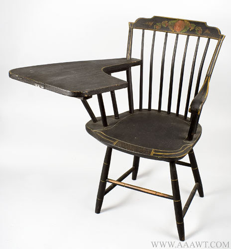Antique Paint Decorated Writing Arm Windsor Armchair, Original Paint, Circa 1820, angle view