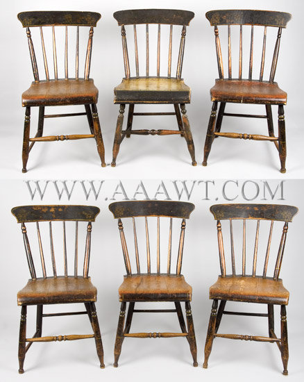 Set Of Six Windsor Side Chairs With maker's stencil... Walter Corey Portland, Maine Circa 1844-1855, set view