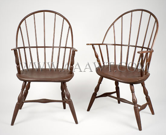 Pair Of Sack-Back Windsor Armchairs