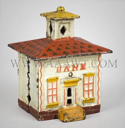 Antique Bank, House Form, Cast Iron, White and Red Paint, angle view