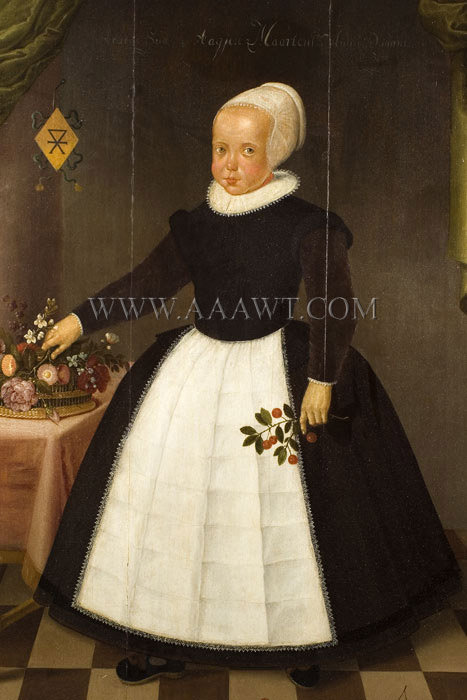 Full Length Portrait of Child Holding Flowers, Dutch School, 17th Century