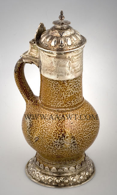 Silver Mounted Tiger Ware Jug, Salt Glazed, Elizabethan    Germany    16th Century    Elaborate silver mountings, entire view