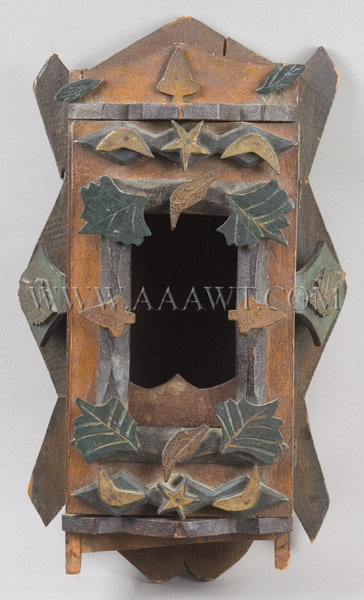 antique wall box tramp art carved painted and applied decoration entire view