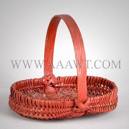 Miniature Red Painted Basket, entire view