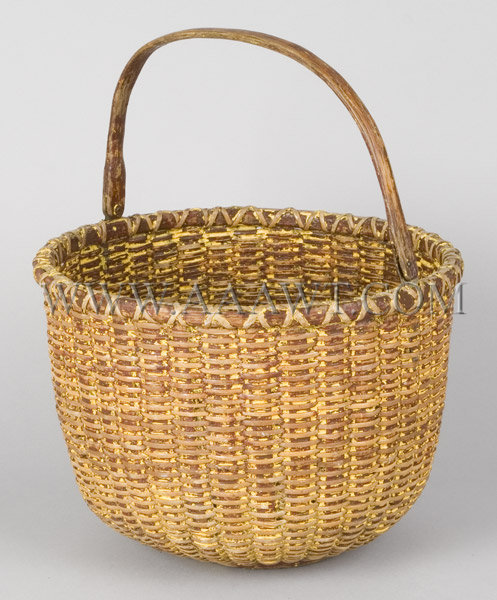 Early Nantucket Basket signed ELV, entire view