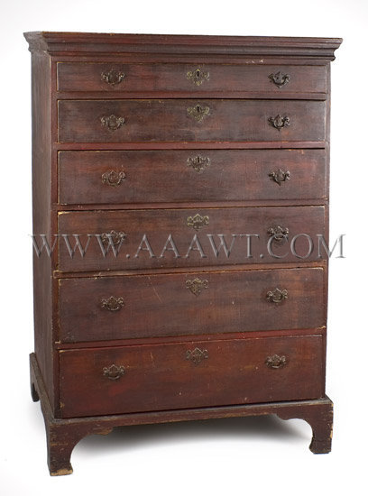 Chippendale Tall-Chest Original brasses...six drawers Rhode Island Circa 1760-1780, entire view