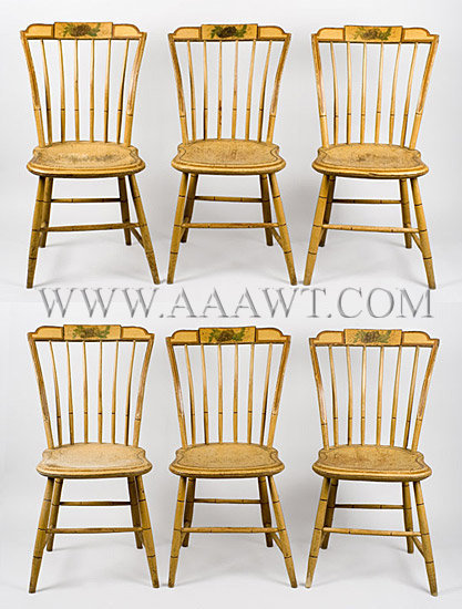 Side Chairs, Windsor Dining Chairs, Original Paint, Set of Six New England, Circa 1810, set view