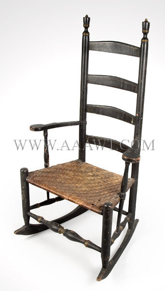 Ladder-Back Rocking Chair With hoopskirt arms American Circa 1780 to 1820, angle view