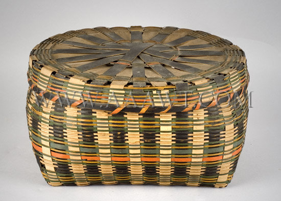 Native American Splint Basket Painted and dyed, entire view