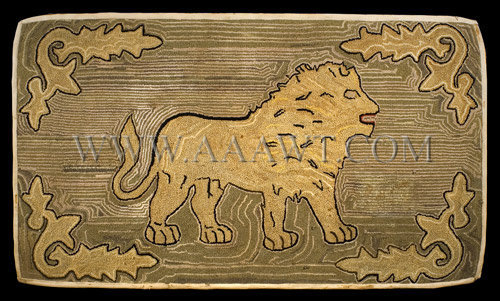 Antique Hooked Rug, Lion, entire view