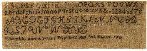 Antique Needlework, Marking Sampler by Harriet Sanders, close up view