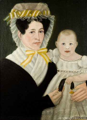 Antique Folk Art Portrait of Mother with Child, New England, Circa 1830, close up view