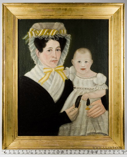 Antique Folk Art Portrait of Mother with Child, New England, Circa 1830, with ruler for scale
