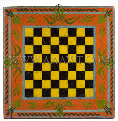 Antique Game Board, Checker Board, 19th Century, Seven Paint Colors