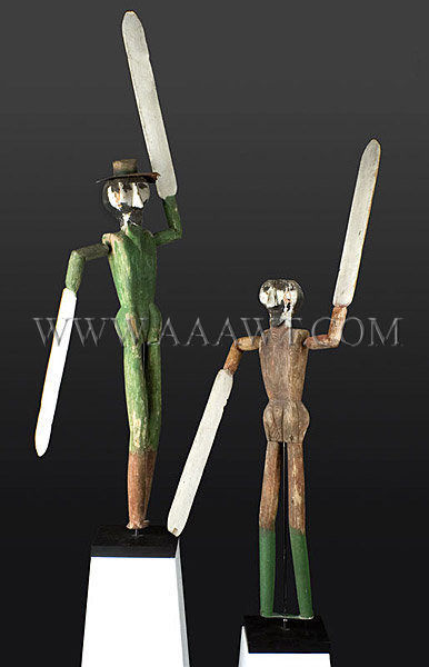 Antique Whirligigs, Pair of Figures, Paint Decorated, angle views