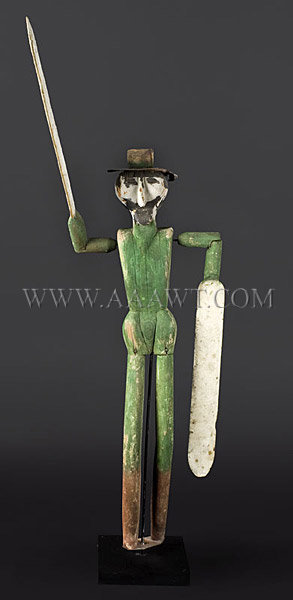 Antique Whirligigs, Pair of Figures, Paint Decorated, green figure entire view