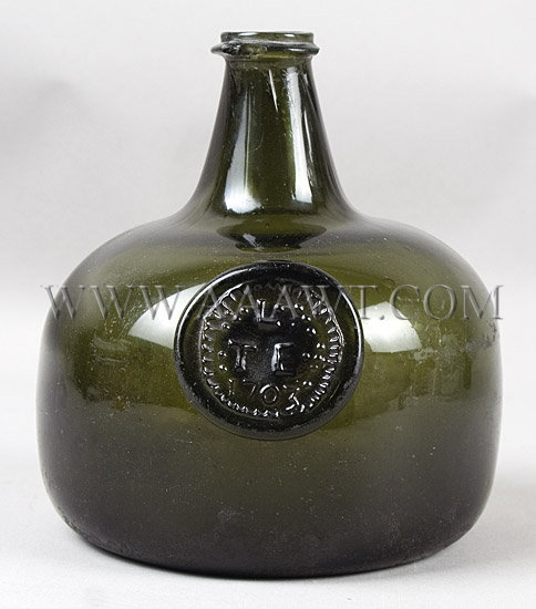 Rare English Squat Shaped Bottle  Transitional Onion/Mallet Form  Dark Green, entire view