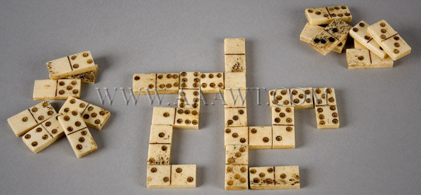 Antique Toy, Dominoes Set, Lot of 28 Pieces, Circa 1850, entire view