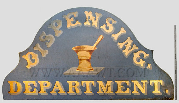 Antique Trade Sign, Dispensing Department, Mortar and Pestle, Original Paint