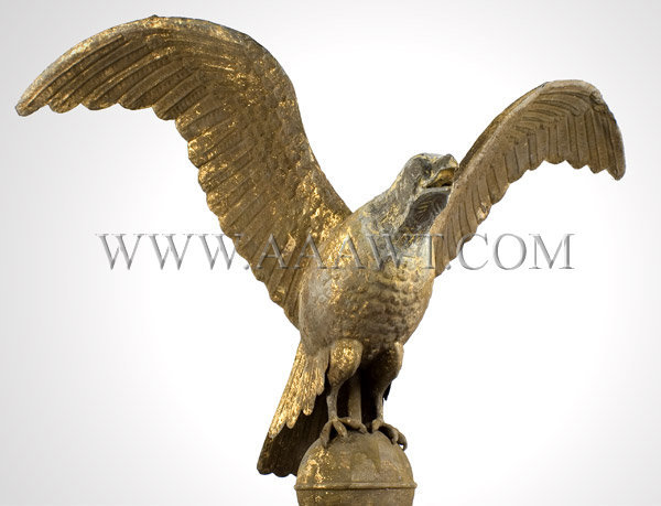 Antique Weathervane, Eagle, Spread Wing, Old Surface, under angle view