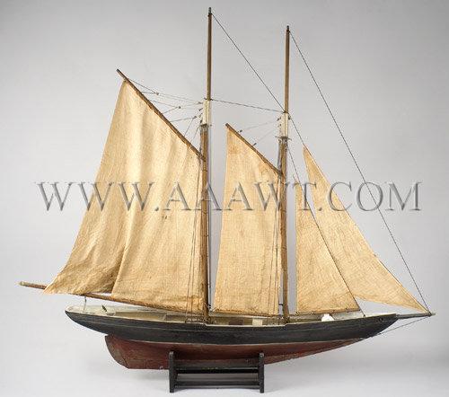 Antique Ship Model, Schooner, Original Paint and Sails, side view