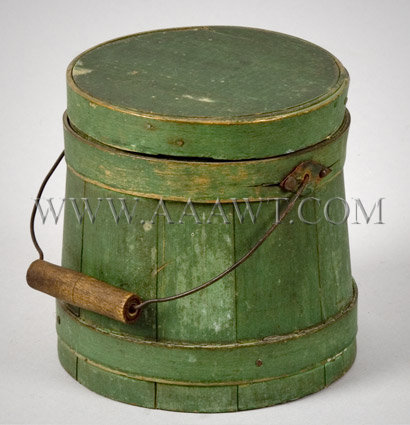 Small Bail-Handle Sugar Bucket  Original Green Paint  Late 19th Century, entire view