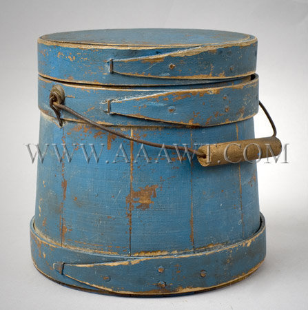 Small Bail-Handle Sugar Bucket  Old Robins Egg Blue Over Red  Late 19th Century, entire view